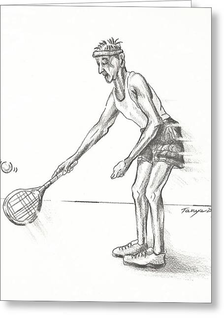 Tennis Drawings Greeting Cards - Tennis Gent Greeting Card by Tanya Provines
