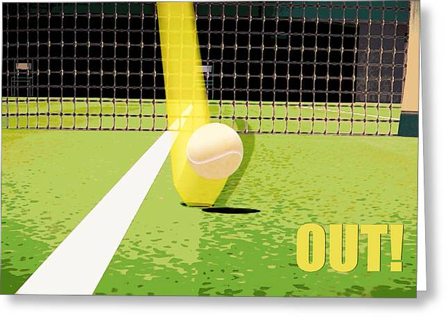 Wimbledon Greeting Cards - Tennis Hawkeye Out Greeting Card by Natalie Kinnear
