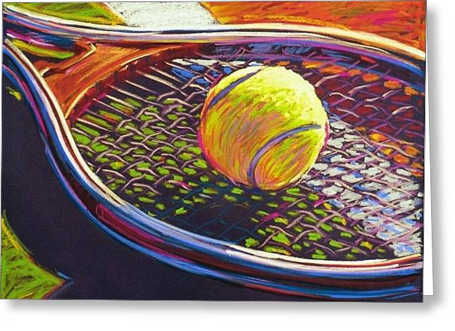 Racquet Paintings Greeting Cards - Tennis II Greeting Card by Jim Grady