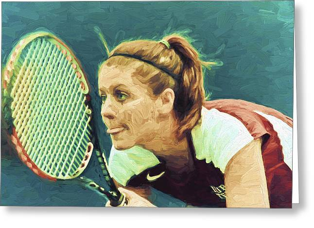 Women Tennis Greeting Cards - Tennis IUPUI Digitally Painted DH Greeting Card by David Haskett