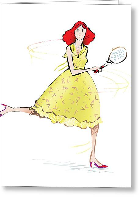 Tennis Drawings Greeting Cards - Tennis Lady Greeting Card by Ch