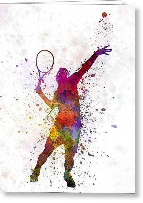 Actions Greeting Cards - Tennis Player At Service Serving Silhouette 01 Greeting Card by Pablo Romero