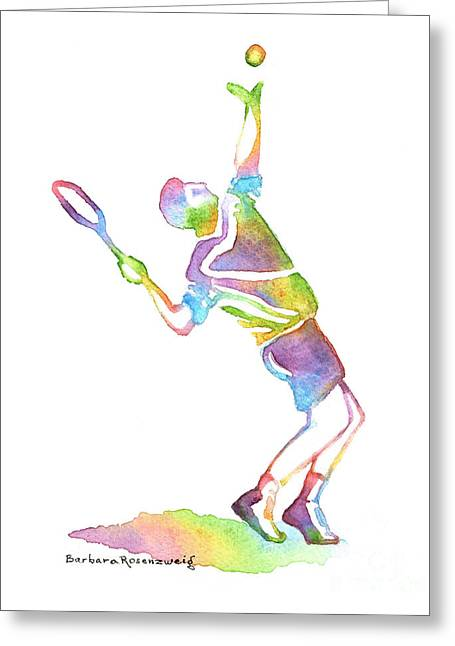 Racquet Paintings Greeting Cards - Tennis Player Greeting Card by Barbara Rosenzweig