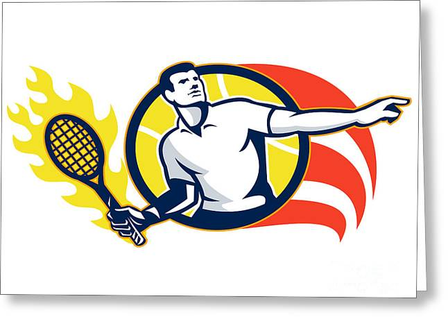 Racquet Digital Art Greeting Cards - Tennis Player Flaming Racquet Ball Retro Greeting Card by Aloysius Patrimonio