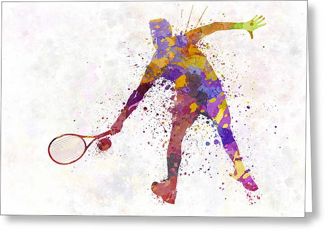 Tennis Player Paintings Greeting Cards - Tennis Player In Silhouette 02 Greeting Card by Pablo Romero