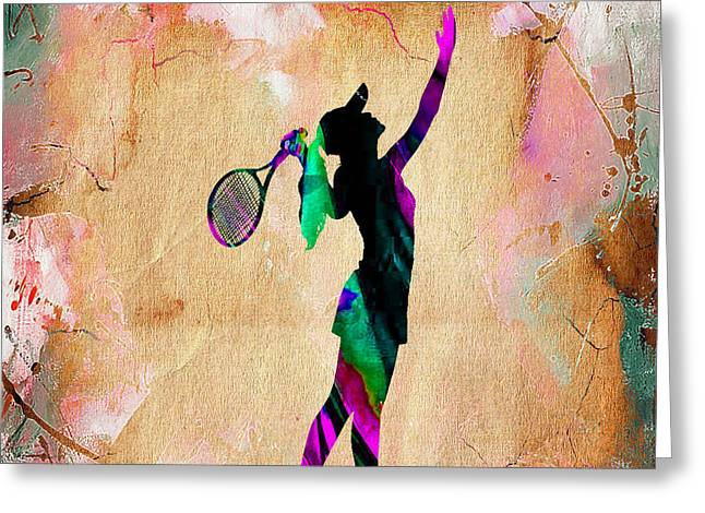 Tennis Match Mixed Media Greeting Cards - Tennis Player Greeting Card by Marvin Blaine