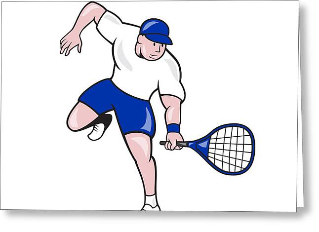 Forehand Greeting Cards - Tennis Player Racquet Cartoon Greeting Card by Aloysius Patrimonio