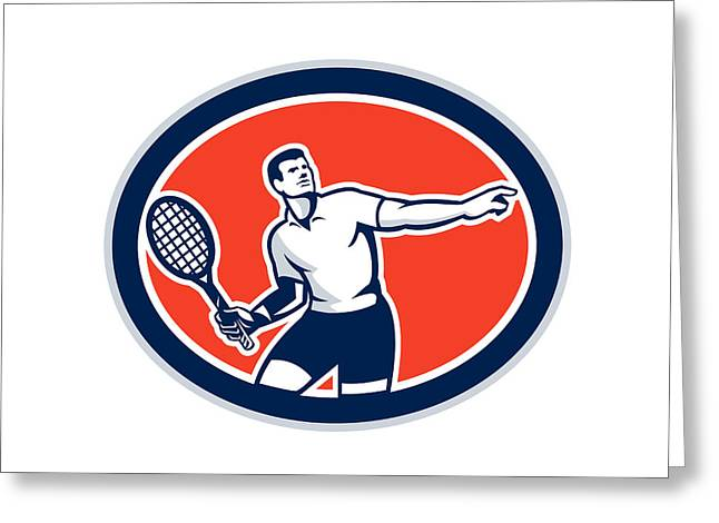 Racquet Digital Art Greeting Cards - Tennis Player Racquet Oval Retro Greeting Card by Aloysius Patrimonio