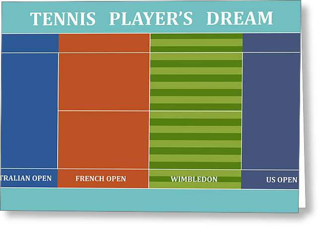 Recently Sold -  - Slam Greeting Cards - Tennis Player-s Dream Greeting Card by Carlos Vieira