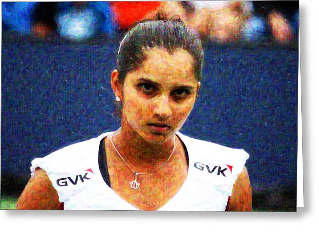 Tennis Champion Greeting Cards - Tennis Player Sania Mirza Greeting Card by Nishanth Gopinathan