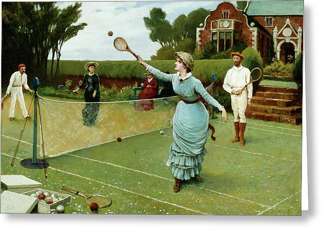 Pastimes Greeting Cards - Tennis Players, 1885 Greeting Card by Horace Henry Cauty