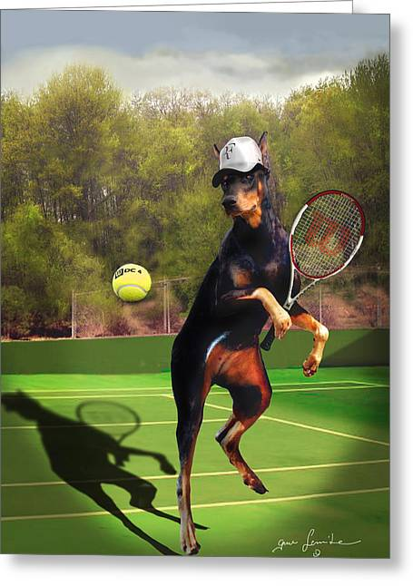 Humorous Greeting Cards Greeting Cards - Tennis playing Doberman Greeting Card by Gina Femrite