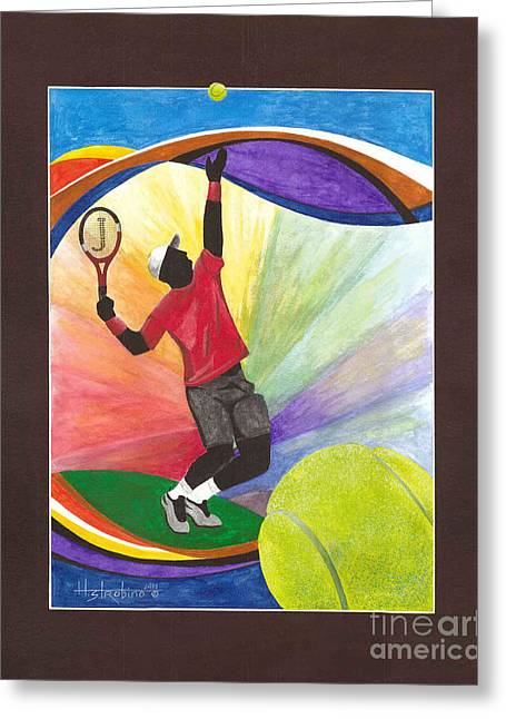 Tennis Player Paintings Greeting Cards - Tennis Poster Greeting Card by Herb Strobino