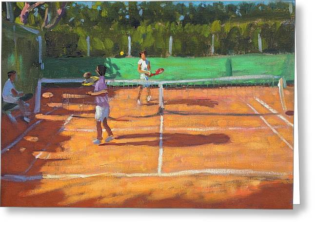 Racquet Paintings Greeting Cards - Tennis practice Greeting Card by Andrew Macara