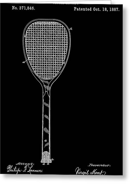 Gym Mixed Media Greeting Cards - Tennis Racket Greeting Card by Dan Sproul