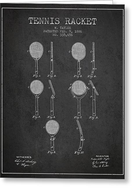Tennis Game Greeting Cards - Tennis Racket Patent from 1886 - Charcoal Greeting Card by Aged Pixel
