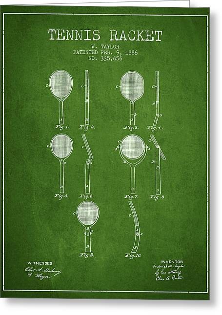 Tennis Game Greeting Cards - Tennis Racket Patent from 1886 - Green Greeting Card by Aged Pixel