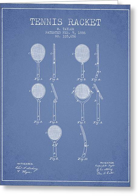 Tennis Game Greeting Cards - Tennis Racket Patent from 1886 - Light Blue Greeting Card by Aged Pixel