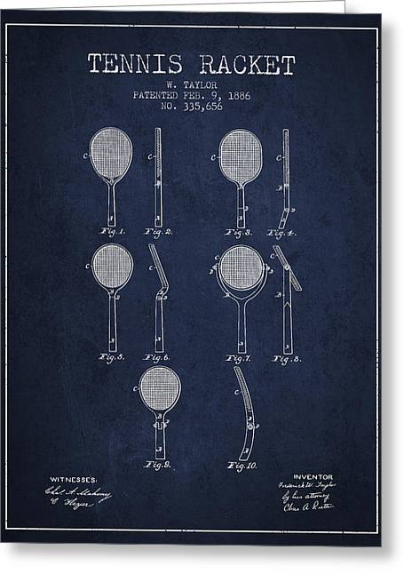 Tennis Game Greeting Cards - Tennis Racket Patent from 1886 - Navy Blue Greeting Card by Aged Pixel