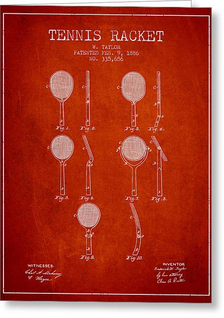 Tennis Racket Greeting Cards - Tennis Racket Patent from 1886 - Red Greeting Card by Aged Pixel