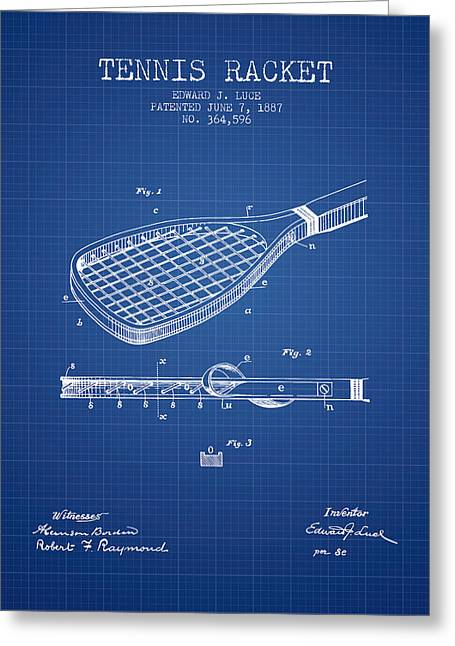 Tennis Game Greeting Cards - Tennis Racket Patent from 1887 - Blueprint Greeting Card by Aged Pixel