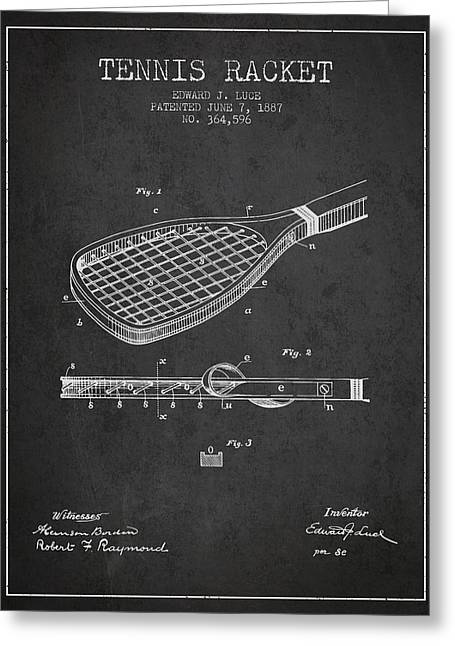 Tennis Game Greeting Cards - Tennis Racket Patent from 1887 - Charcoal Greeting Card by Aged Pixel