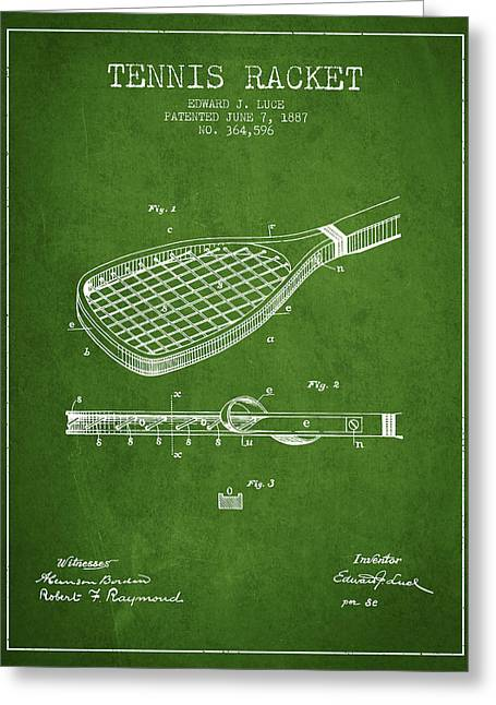 Tennis Game Greeting Cards - Tennis Racket Patent from 1887 - Green Greeting Card by Aged Pixel