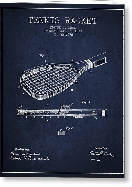Tennis Game Greeting Cards - Tennis Racket Patent from 1887 - Navy Blue Greeting Card by Aged Pixel