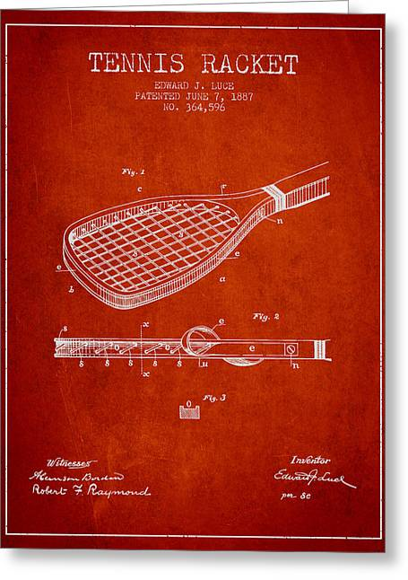 Tennis Game Greeting Cards - Tennis Racket Patent from 1887 - Red Greeting Card by Aged Pixel
