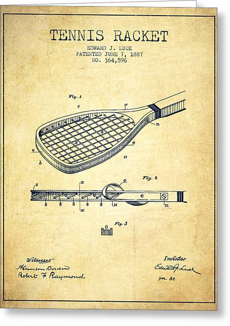 Tennis Game Greeting Cards - Tennis Racket Patent from 1887 - Vintage Greeting Card by Aged Pixel