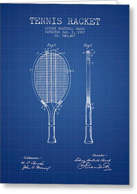 Tennis Racket Patent From 1907 - Blueprint Greeting Card by Aged Pixel