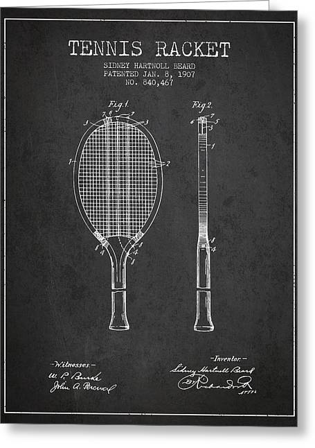 Tennis Game Greeting Cards - Tennis Racket Patent from 1907 - Charcoal Greeting Card by Aged Pixel