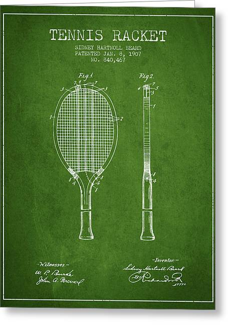 Tennis Game Greeting Cards - Tennis Racket Patent from 1907 - Green Greeting Card by Aged Pixel