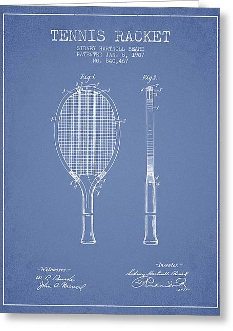 Tennis Game Greeting Cards - Tennis Racket Patent from 1907 - Light Blue Greeting Card by Aged Pixel