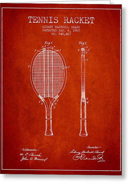 Tennis Game Greeting Cards - Tennis Racket Patent from 1907 - Red Greeting Card by Aged Pixel