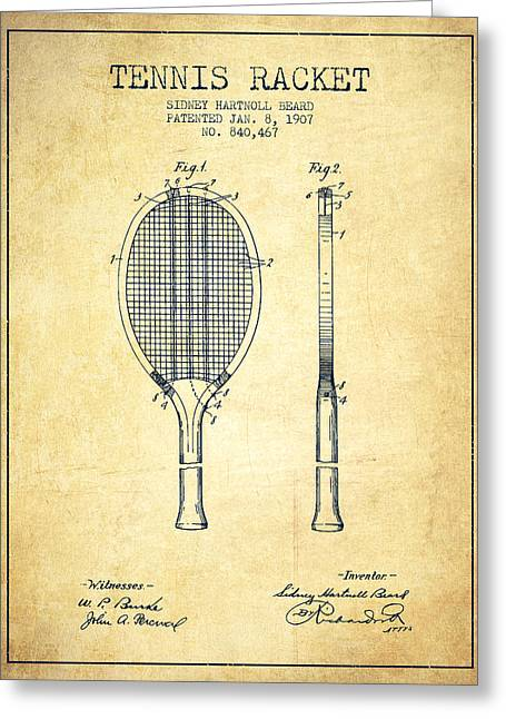 Tennis Game Greeting Cards - Tennis Racket Patent from 1907 - Vintage Greeting Card by Aged Pixel