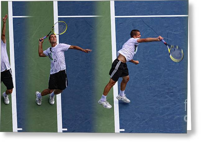 Tennis Champion Greeting Cards - Tennis Serve by Mikhail Youzhny Greeting Card by Nishanth Gopinathan