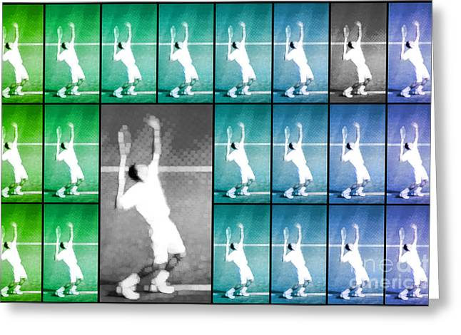 Wimbledon Greeting Cards - Tennis Serve Mosaic Abstract Greeting Card by Natalie Kinnear