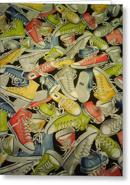 High Top Tennis Shoes Greeting Cards - Tennis Shoes Anyone Greeting Card by CJ Anderson