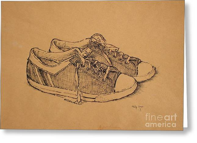 Psalm One Greeting Cards - The Steps of a Good Man Are Ordered By the Lord - Psalm 37 23 - Vintage Low-Top Tennis Shoes Greeting Card by Philip Jones