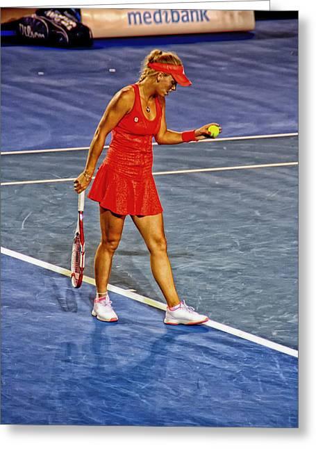 Tennis Star Greeting Cards - Tennis Star Caroline Wozniaki - Australian Open 2012 Greeting Card by Mountain Dreams