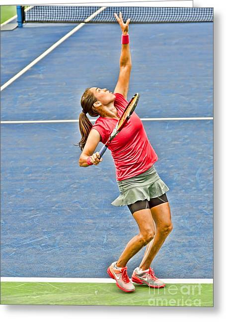 Tennis Star Jamie Hampton Greeting Card by Harold Bonacquist