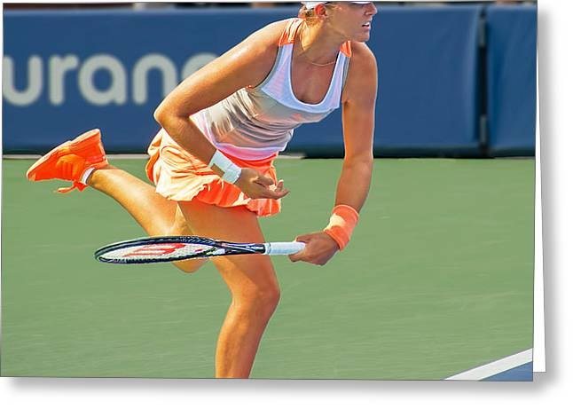 Tennis Star Laura Robson Greeting Card by Harold Bonacquist