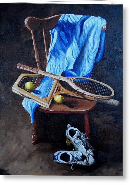 Racquet Paintings Greeting Cards - Tennis still life Greeting Card by Logan Cobb