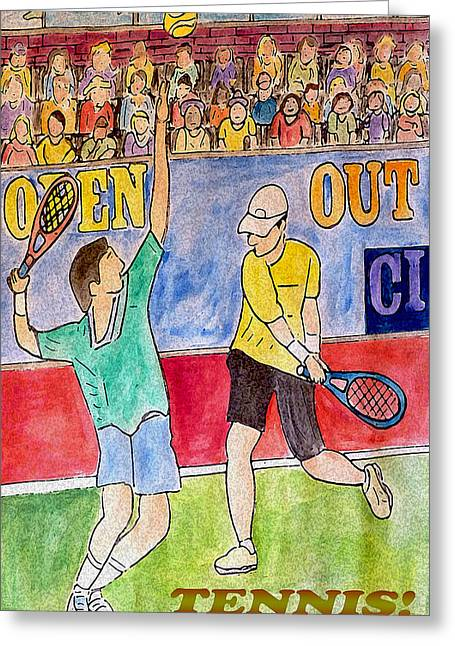 Tennis Drawings Greeting Cards - Tennis Strokes Greeting Card by Monica Engeler