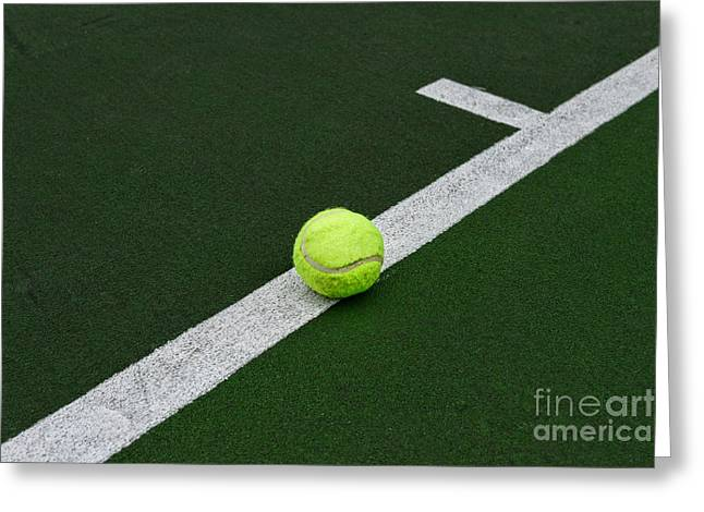 Volley Greeting Cards - Tennis - The Baseline Greeting Card by Paul Ward