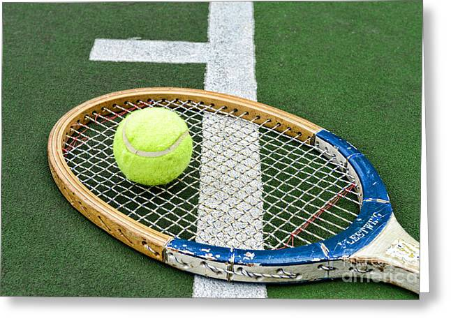 Racquet Photographs Greeting Cards - Tennis - Wooden Tennis Racquet Greeting Card by Paul Ward