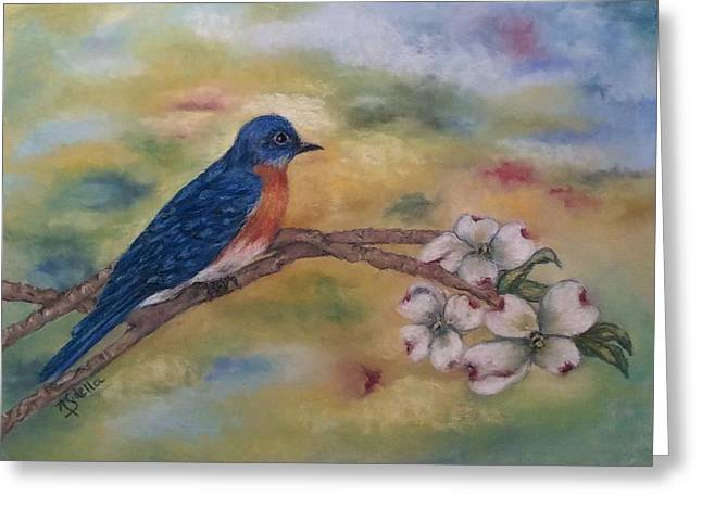 Tennessee Pastels Greeting Cards - Tennnessee Wildlife - Eastern Bluebird Greeting Card by Annamarie Sidella-Felts