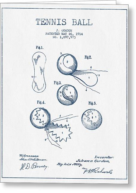 Tennis Racket Greeting Cards - Tennnis Ball Patent Drawing from 1914  -  Blue Ink Greeting Card by Aged Pixel