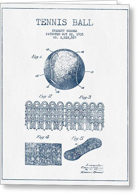 Tennis Racket Greeting Cards - Tennnis Ball Patent Drawing from 1935  -  Blue Ink Greeting Card by Aged Pixel